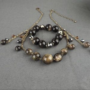 Fashion cats eye beaded necklace & bracelet set